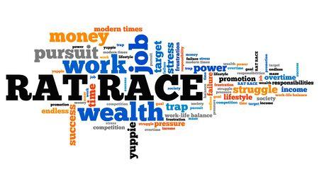struggle: Rat race - career and promotion pursuit. Employment word cloud.