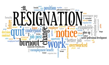Resignation - job quitting and professional change. Career word cloud. Фото со стока - 80080451