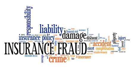 compensation: Insurance fraud - financial crime. Tag cloud concept. Stock Photo