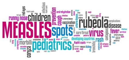 infectious: Measles - infectious virus disease. Word cloud sign.