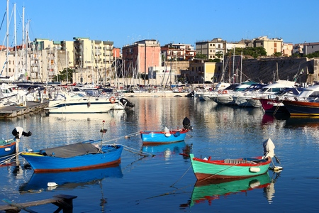 Fishing harbor in Italy - Bisceglie town in Apulia. Stock Photo