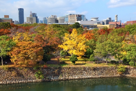 koyo: Osaka, Japan - city and Castle Park view with autumn trees.