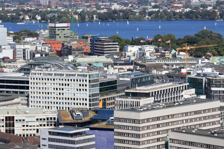 Hamburg, Germany - city aerial view with Alster Lake. Stock Photo - 80939757