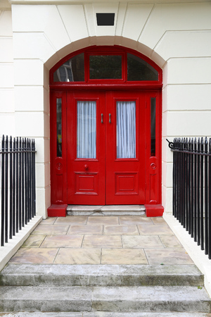 front end: Bloomsbury in West End of London, UK - beautiful Georgian front door. Stock Photo