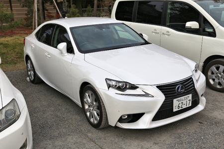 lexus auto: KYOTO, JAPAN - NOVEMBER 26, 2016: Lexus GS mid-size luxury car parked in Kyoto, Japan. There are approximately 68.9 million cars registered in Japan.