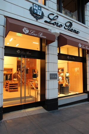 SAN FRANCISCO, USA - APRIL 8, 2014: Loro Piana fashion store in San Francisco, USA. Annual retail sales reached USD 4.785 trillion in the United States in 2015. Editorial