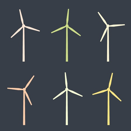 windy energy: Wind turbines set - simple isolated vector silhouette. Illustration