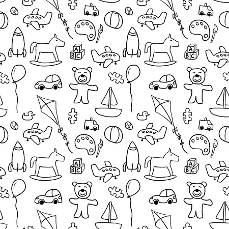 quirky: Toys background pattern - seamless doodle illustration vector. Illustration