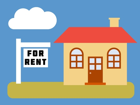 Home for rent - simple vector real estate illustration.