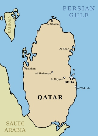 Qatar map. Outline illustration country map with main cities. Illustration