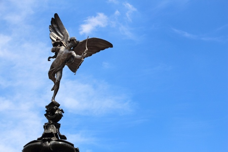 London, UK - Eros statue at Piccadilly Circus.