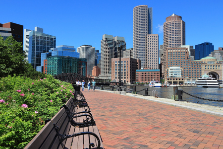 BOSTON, USA - JUNE 9, 2013: People visit South Boston with Boston skyline view. Boston is the largest city in Massachusetts with estimated 2014 population of 645,966. Editorial