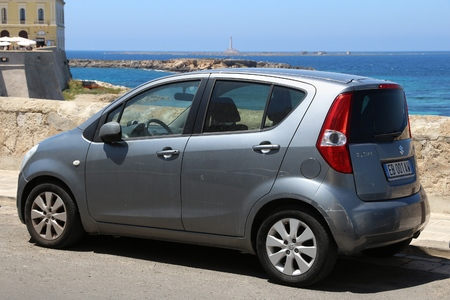 GALLIPOLI, ITALY - MAY 31, 2017: Suzuki Splash small city car parked in Italy. There are 41 million motor vehicles registered in Italy.