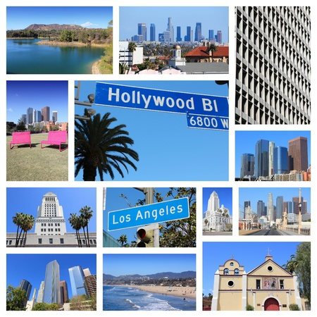 santa monica: Los Angeles travel collage with skylines, Hollywood and Santa Monica beach.