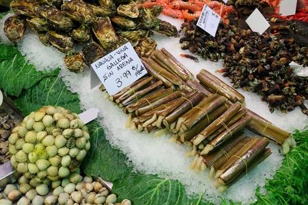 Boqueria market in Barcelona. Fresh shellfish price tags: clams, navaja gallega (razor clams), percebe gallego (goose-neck barnacles) and oysters.
