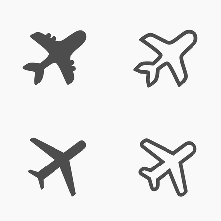 Airliner icon set - airport sign airplane shapes.