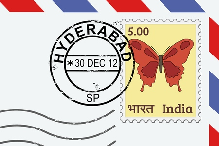 Hyderabad postage stamp - India post stamp on a lettern.