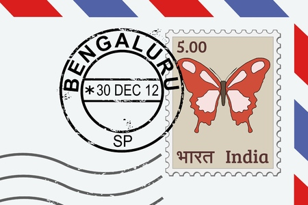 Bengaluru postage stamp - India post stamp on a lettern.