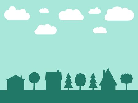 Small town vector silhouette with copyspace - cute village illustration. Residential neighborhood.