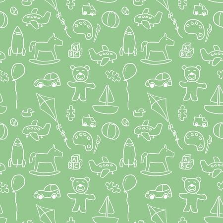 Toys background pattern - seamless doodle illustration vector. Illustration