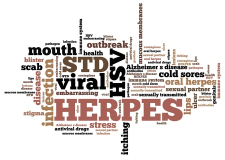 sexually transmitted disease: Herpes - sexually transmitted disease. STD word cloud. Stock Photo