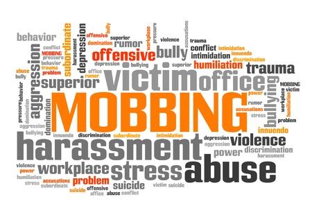 Mobbing - work place behavior problem. Employment word cloud.