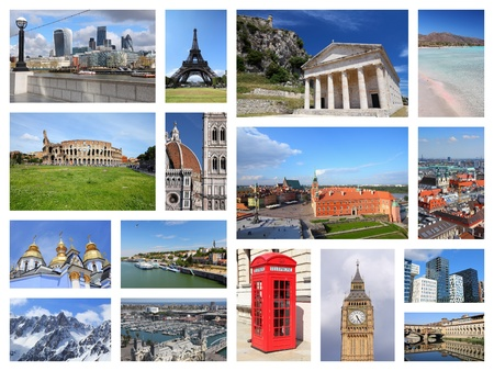 Europe landmarks collage - tourism attractions postcard montage including Paris, Florence, Rome, London, Barcelona, Kiev, Warsaw, Serbia and Greece.