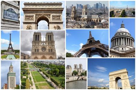 パリ ポストカード コラージュ - フランスの首都のランドマーク ポストカード コレクション。 写真素材