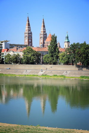Szeged skyline - cityscape of Old Town in Hungary.