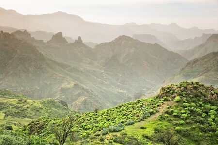 Gran Canaria landscape - misty mountains of Caldera de Tejeda. Winter view.