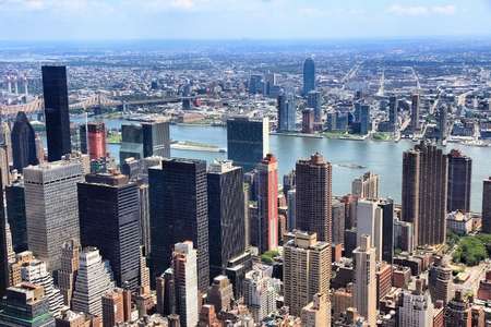 Manhattan and Queens aerial view in New York City. Tudor City and Medical City districts.