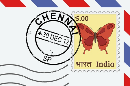 Chennai postage stamp - India post stamp on a lettern.
