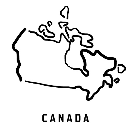 Canada map outline - smooth simplified country shape map vector.