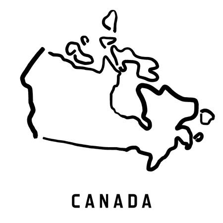 カナダのマップのアウトライン - 滑らかな簡略化された国形地図ベクトル。