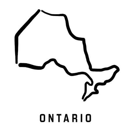 Ontario map outline - smooth simplified Canadian province shape map vector.