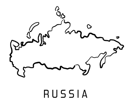 Russia map outline - smooth simplified country shape map vector.