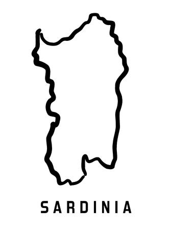 사르데냐지도 개요 - 부드럽고 단순화 된 섬 모양지도 벡터. 일러스트