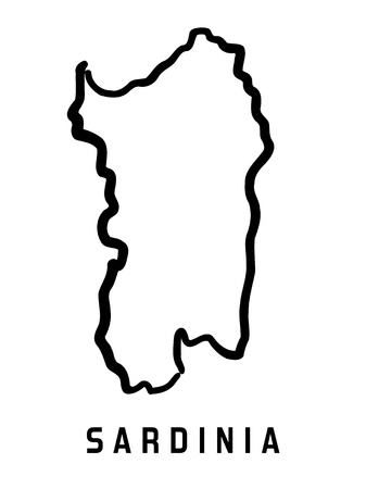 Sardinië kaart overzicht - Vlak vereenvoudigde eiland vorm kaart vector.
