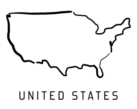 United States Map Outline - Smooth Simplified Country Shape Map ...