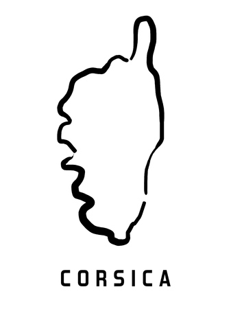 Corsica map outline - smooth simplified island shape map vector.