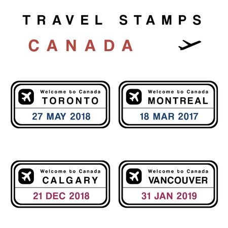 Travel vector - passport stamps set (fictitious stamps). Canada destinations: Toronto, Montreal, Calgary and Vancouver.