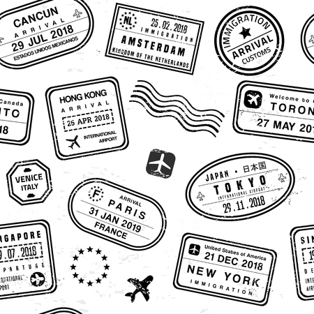 Travel passport stamps collage.