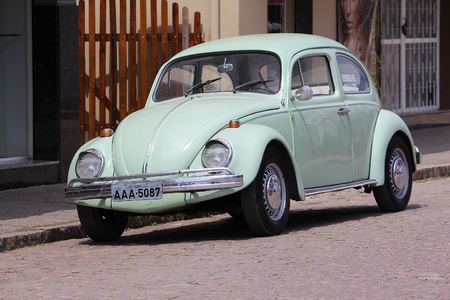 MORRETES, BRAZIL - OCTOBER 8, 2014: Classic VW Beetle parked in Morretes, Brazil. More than 3.3 million VW Beetles have been produced in Brazil.