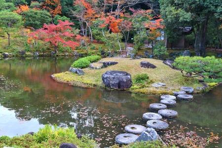 momiji: Traditional Japanese garden in autumn - Isuien Garden of Nara, Japan.