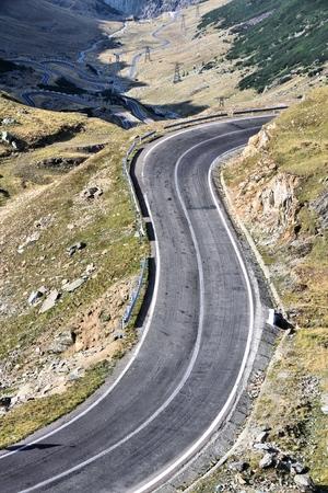 Romania - Fagaras Mountains in Transilvania. Transfagarasan mountain winding road.