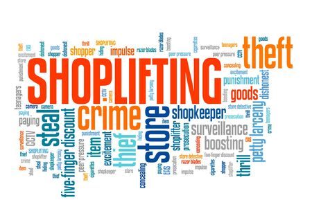 Shoplifting - shop theft retail industry crime problem. Word cloud sign.