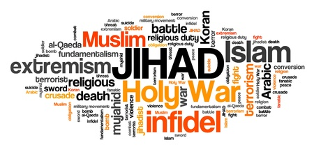 Jihad - Holy War extremism against infidels. Word cloud sign. Stock Photo