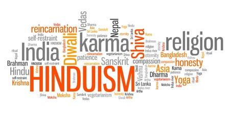 Hinduism - karma way of life. Word cloud sign. Stock Photo