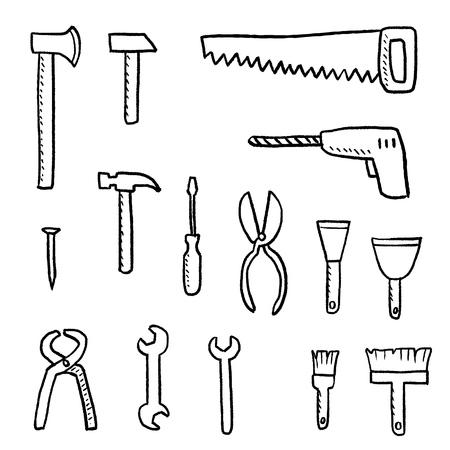 Tools for DIY works - vector hardware tools set. Иллюстрация