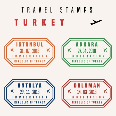 Travel vector - passport stamps set (fictitious stamps). Turkey destinations: Istanbul, Ankara, Antalya and Dalaman.